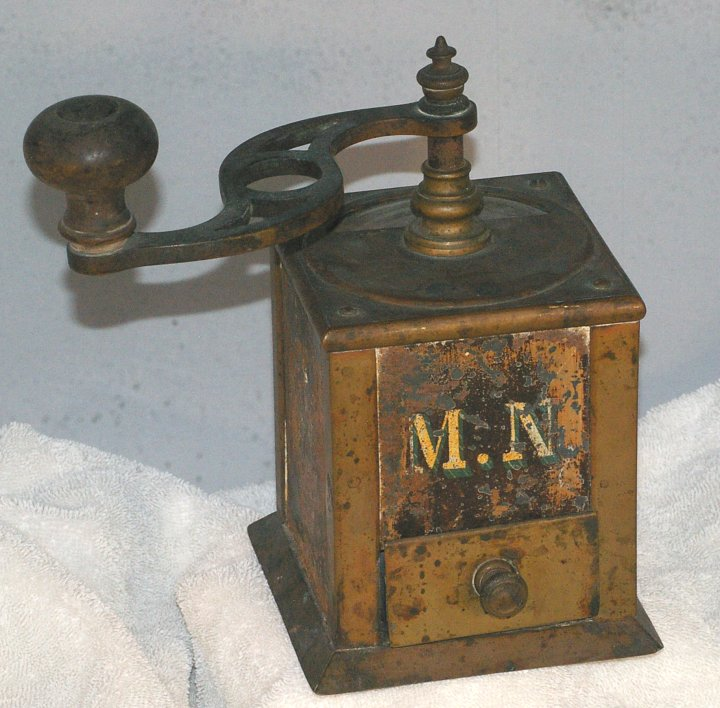 Antique Brass Coffee Grinder from about 1900