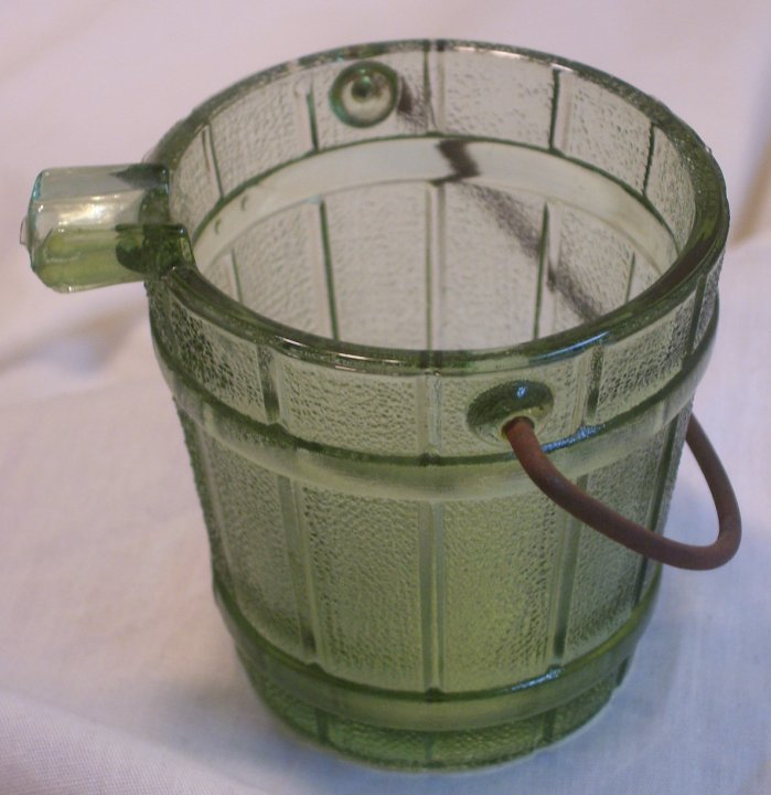 Green Glass Bucket Ashtray from 1960s