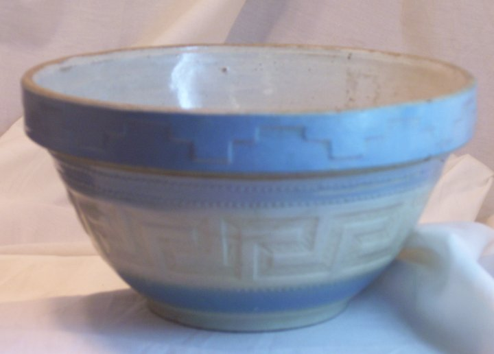 Salt Glaze Mixing Bowl with Advertising from Reading MN in 1920s