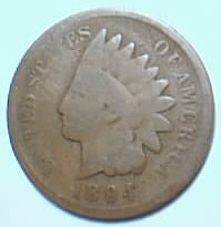 1894 Indian Head cent, graded G4