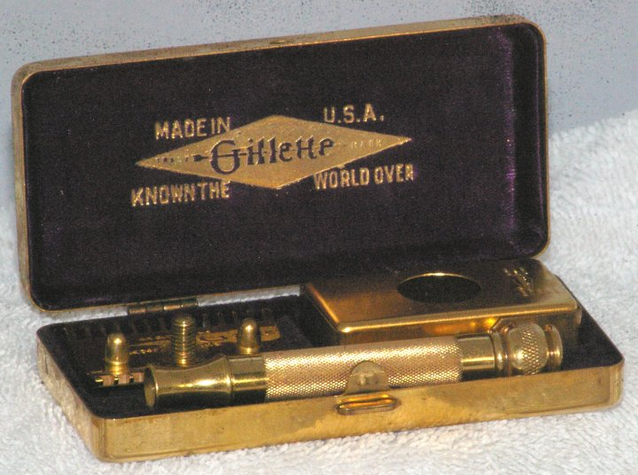 Gillette Gold Plated Old Type in Basket Weave Case, 1930s
