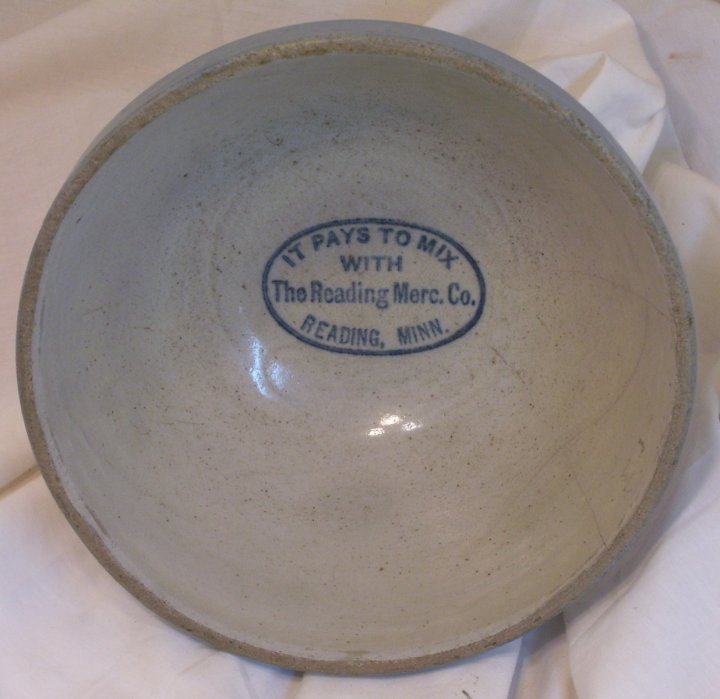 salt glaze mixing bowl with advertising from reading mn in