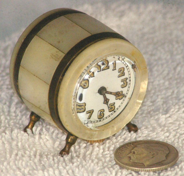 Victorian Miniature Clock with Mother of Pearl, ca 1900