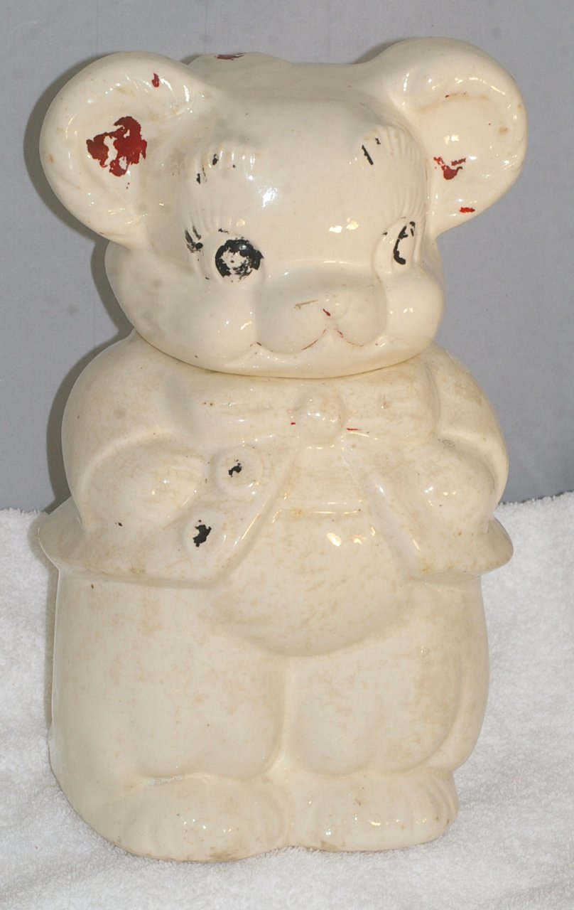 American Bisque Turnabout Bear Cookie Jar from 1950s
