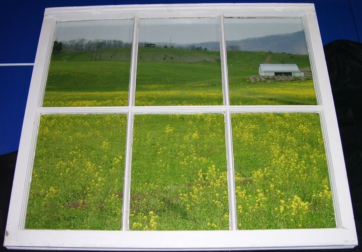 Barn and Field Photo in antique window frame