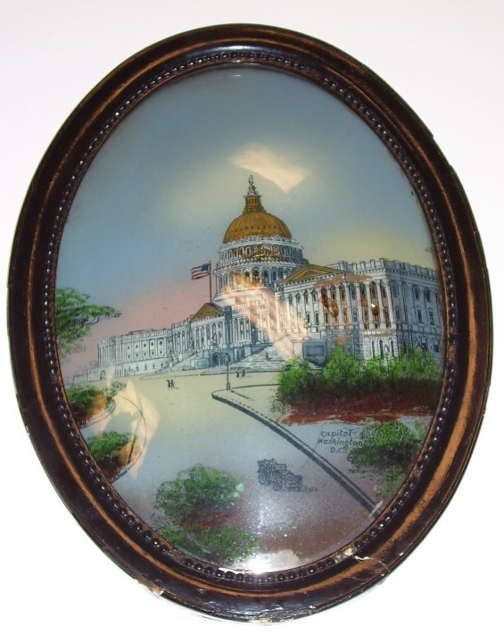 Reverse Painting on Glass, of the Capitol in Washington, DC