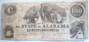 100 dollar Alabama Confederate bill. Reproduction