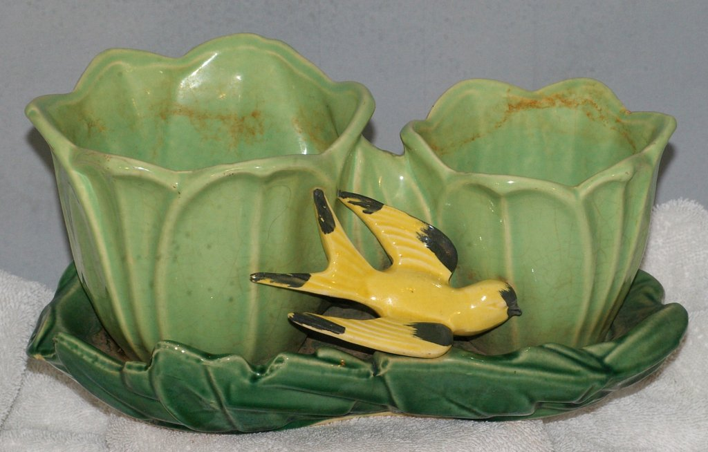 McCoy Swallow and Tulips Flower Pot from 1940s