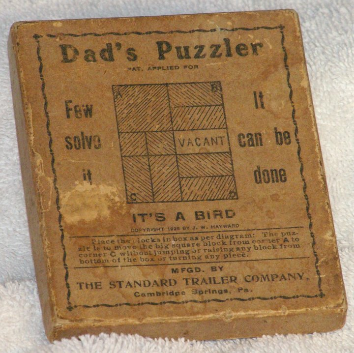 Dad's Puzzler, Wood Sliding Tile Game from 1926