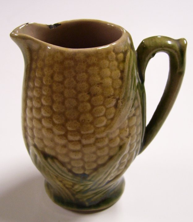 Corn Cob Majolica Cream Pitcher from about 1880