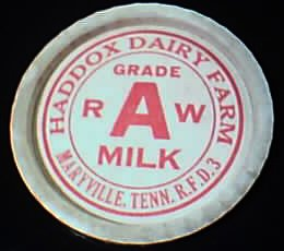Milk Cap from Haddox Dairy Farm, 1930