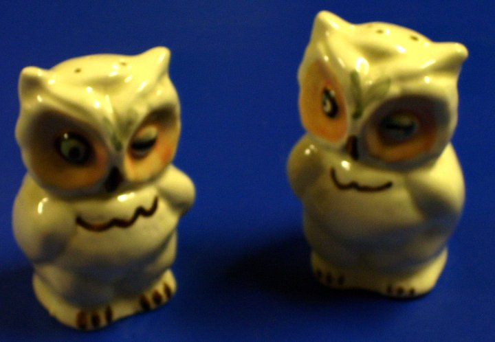 Shawnee Winking Owl Salt and Pepper Shakers, about 1937