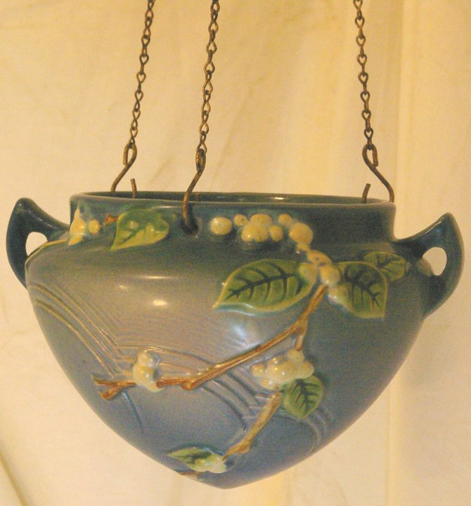 Roseville Snowberry Blue Hanging Planter or Basket from 1950s