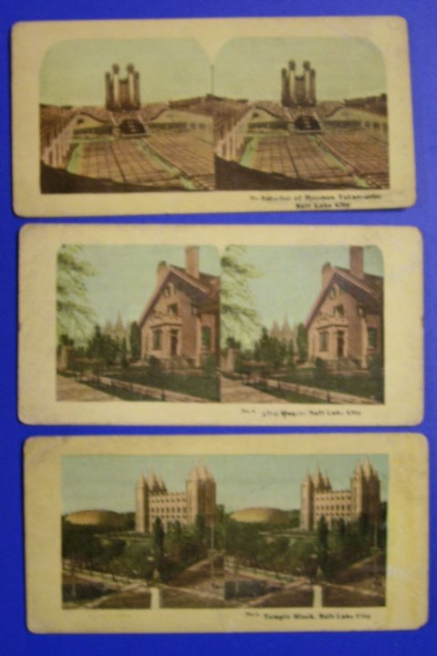 Stereographs, Set of 3 Salt Lake Stereo Views from about 1900