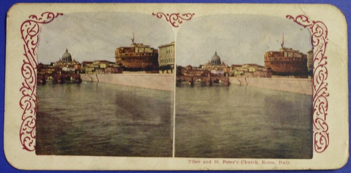 Stereograph Stereo View, Tiber and St Peters Church, 1905