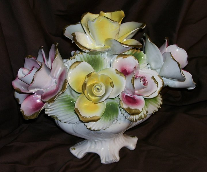 Capodimonte Floral Centerpiece With Roses From About 1950