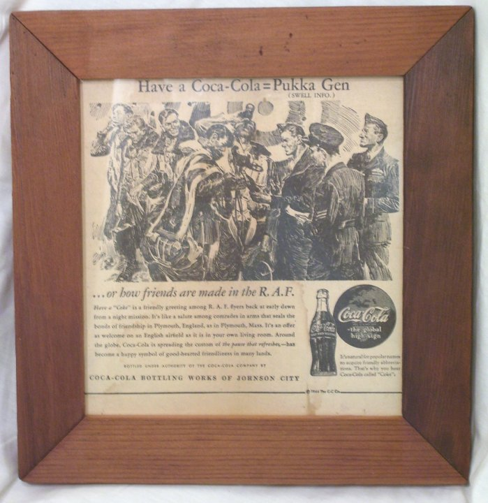 1944 Coca Cola Newspaper Vintage Ad in Frame