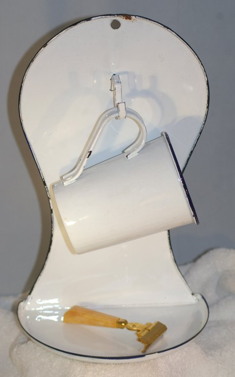 Antique Enamelware Wall Mount Shave Stand with Cup & Razor 1920s - Click Image to Close