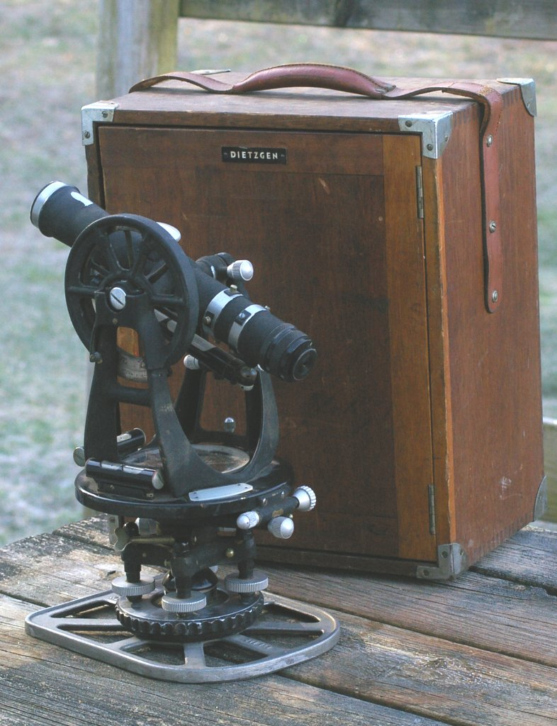 Dietzgen Surveyors Transit or Theodolite in case from 1950s