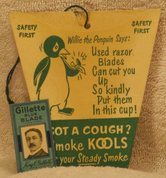 Kool Willie Penguin Advertising Razor Blade Bank, late 1940s