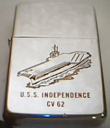 Zippo Lighter USS Independence, around 1963
