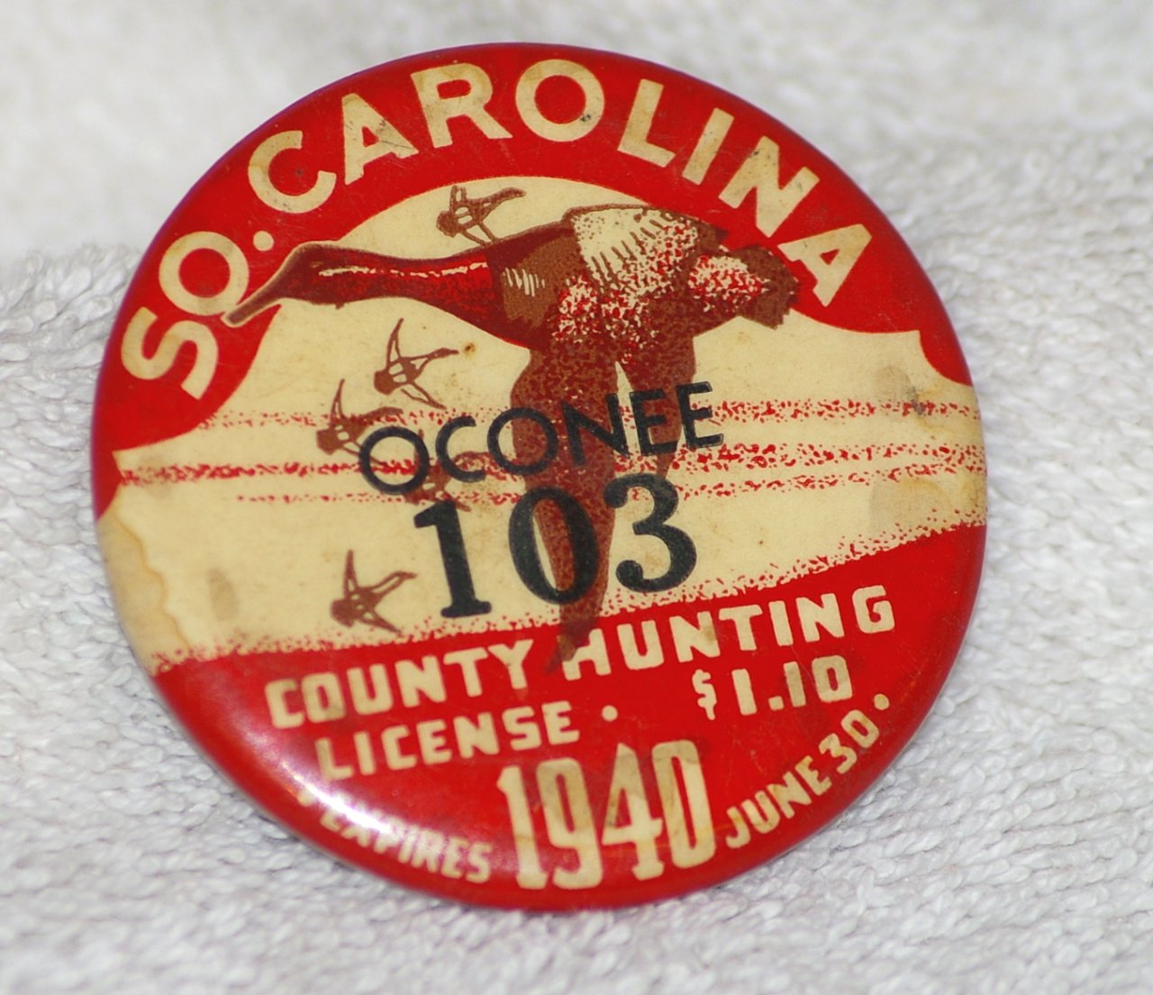 Oconee Co South Carolina Hunting License Badge with Ducks 1940
