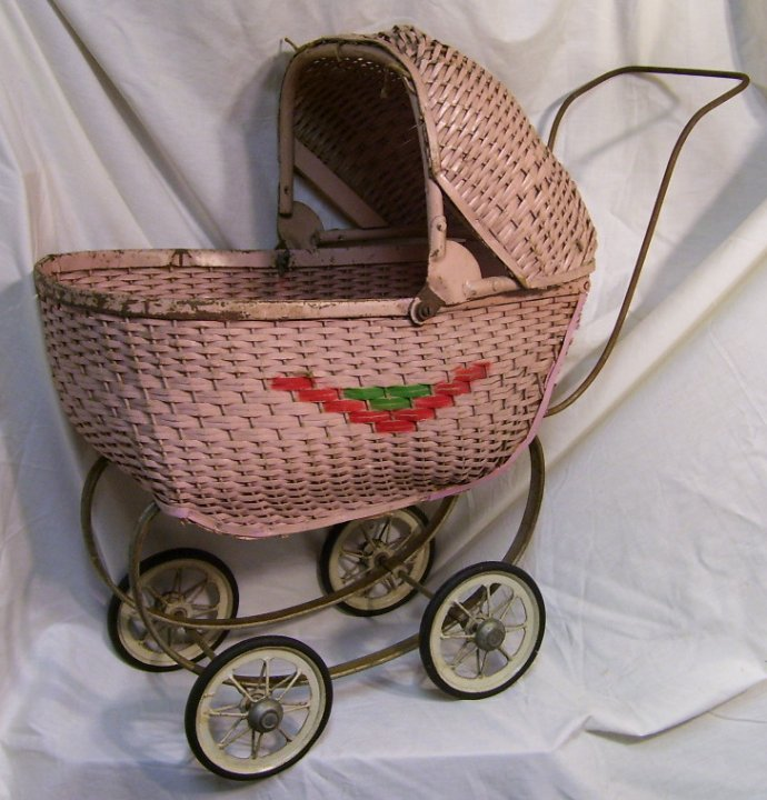 Antique Wicker Toy Baby Buggy from about 1925
