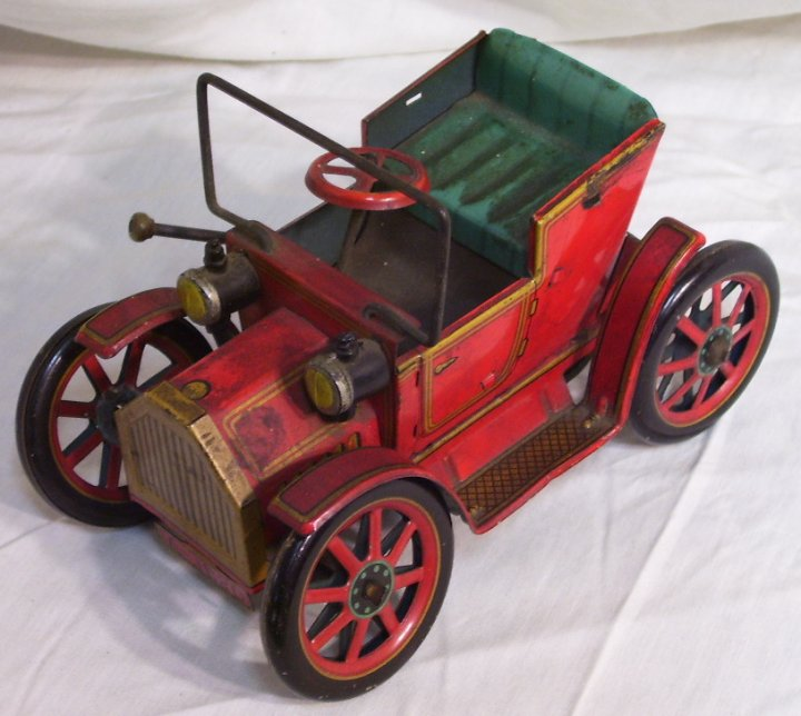 Masudaya Modern Toys Lever Action Tin Car, 1950s