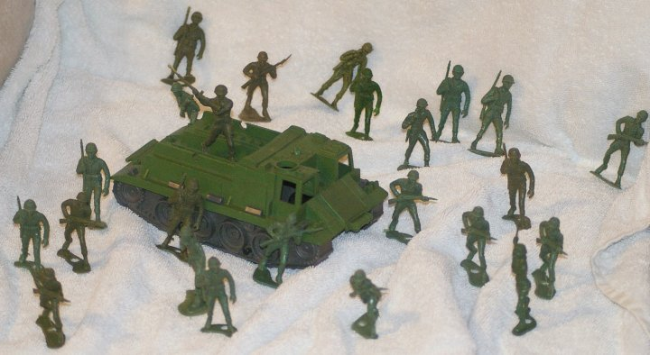 MPC Plastic Army Men with Armored Personnel Carrier from 1960s