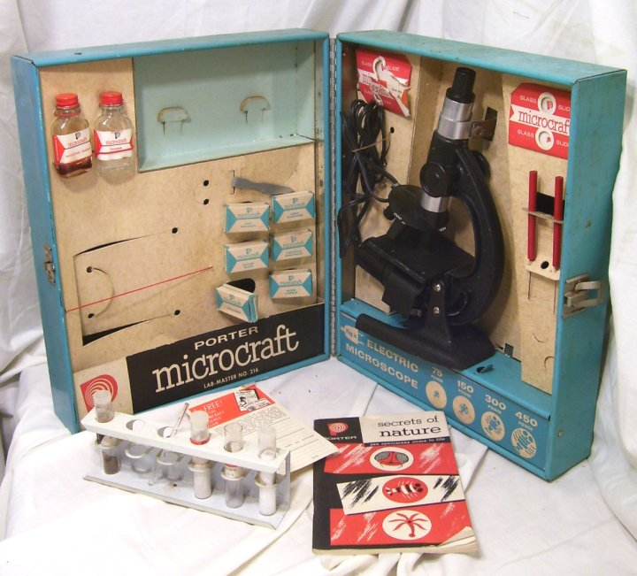 Porter Science Microcraft Microscope Set from 1957