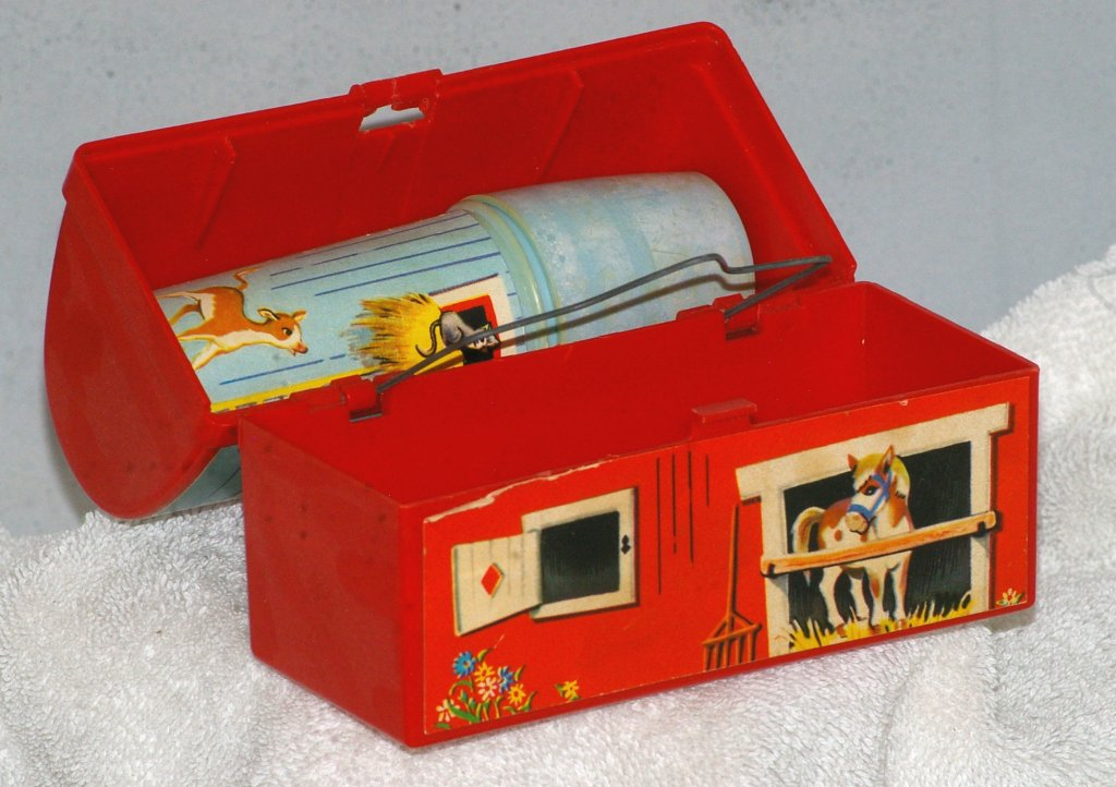 Fisher Price Toy Barn Lunch Box with Silo Thermos, 1962 - Click Image to Close
