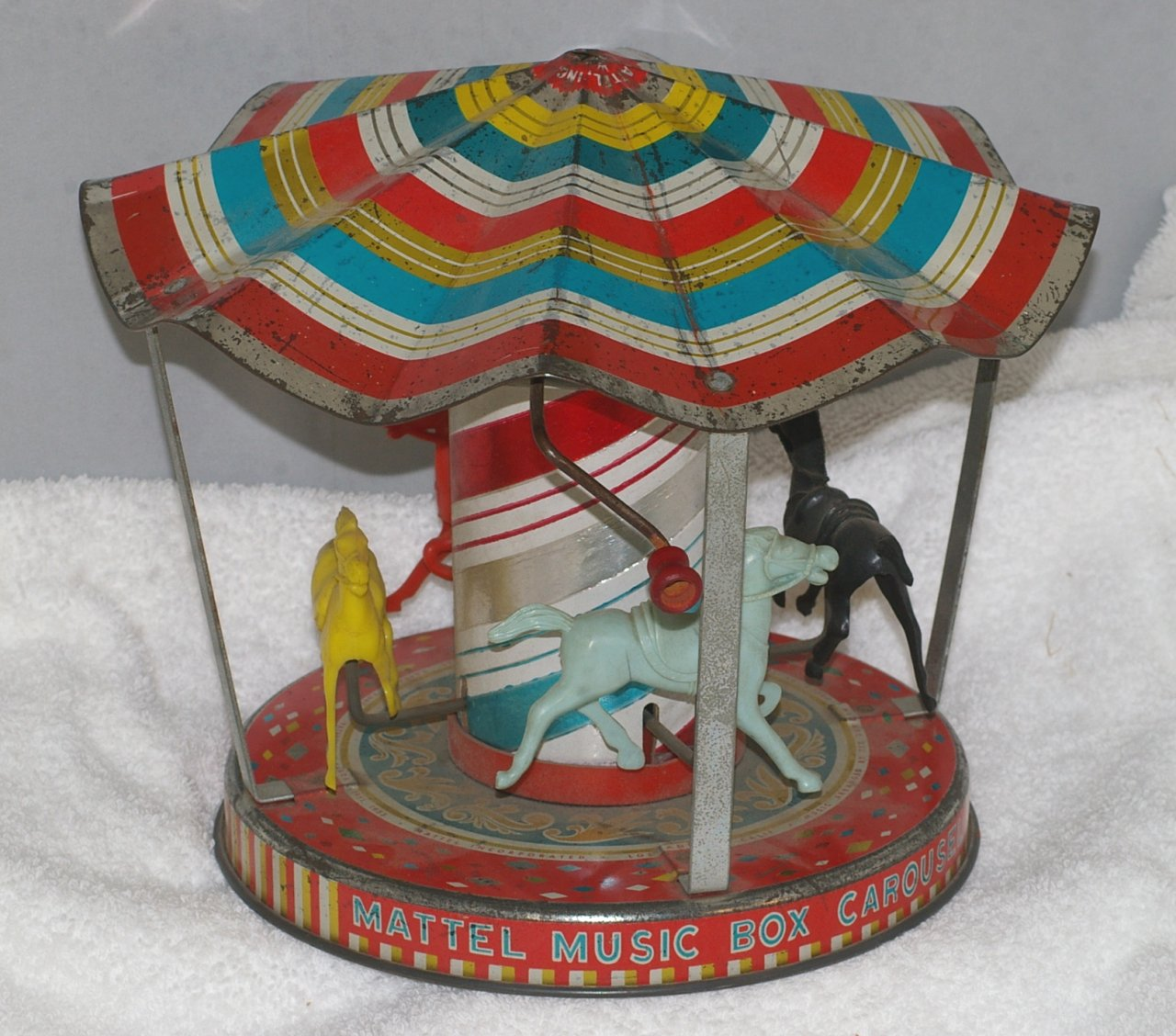 Mattel Music Box Carousel Tin and Plastic Toy from 1956